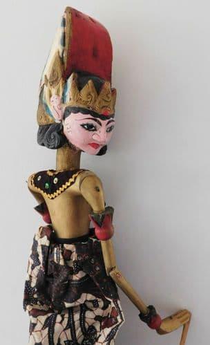 Vintage Oriental wooden rod puppet Indonesia Wayang Golek traditional 24